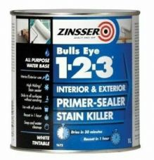 Zinsser Bulls Eye 123 Primer Sealer Stain Killer Paint 2.5l white